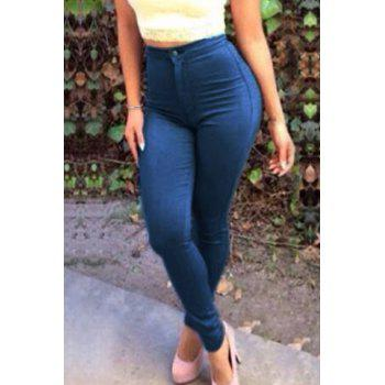 Brief Deep Blue Buttoned Jeans For Women