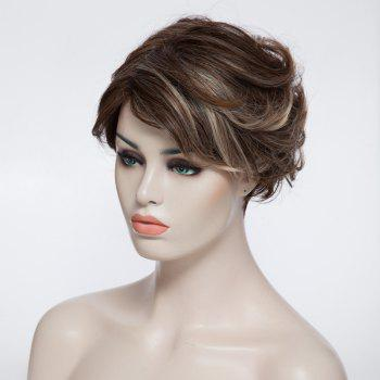 Charming Wavy Short Capless Fashion Fluffy Mixed Color Inclined Bang Synthetic Women's Wig - COLORMIX