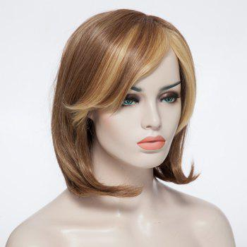 Fashionable Short Straight Women's Synthetic Capless Wig With Side Bang -  COLORMIX