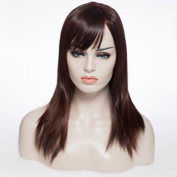 Natural Wave Medium Straight Pretty Brown Women's Capless Wig With Side Bang
