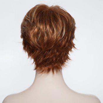 Trendy Side Bang Short Gold Wave Fluffy Heat Resistant Synthetic Women's Wig - COLORMIX
