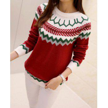 Trendy Women's Jewel Neck Long Sleeve Geometrical Jacquard Sweater