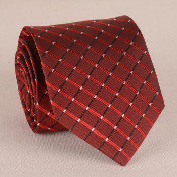 Fashionable Checkered Pattern 8CM Width Men's Wine Red Tie - WINE RED WINE RED