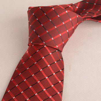Fashionable Checkered Pattern 8CM Width Men's Wine Red Tie -  WINE RED