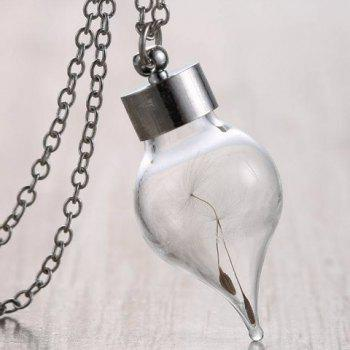 Stylish Transparent Cone Shape Pendant Necklace With Dandelion For Women - SILVER