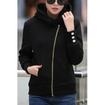 Charming Thick Hooded Solid Color Long Sleeve Pocket Zip Up Hoodie For Women