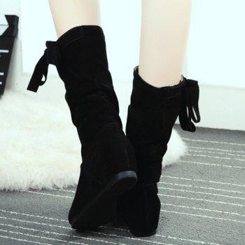 Sweet Slip-On and Suede Design Mid-Calf Boots For Women - BLACK 35