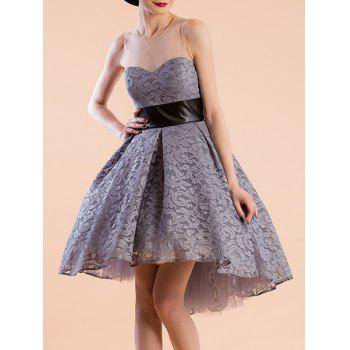 Sweet Women's Jewel Neeck Sleeveless Lace Ball Gown Dress