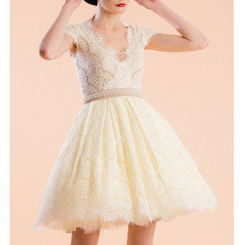 Sweet Women's V-Neeck Short Sleeve Beading Ball Gown Dress