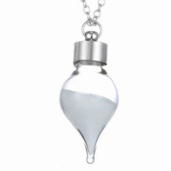 Chic Peach Heart Pendant Luminous Sweater Chain For Women - SILVER
