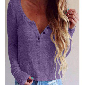 Buy online Pullover Long Sleeve Scoop Neck Solid Color Blouse