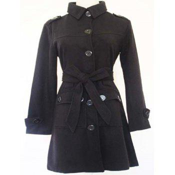 Trendy Candy Color Turn-Down Collar Buttoned Long Sleeve Coat For Women