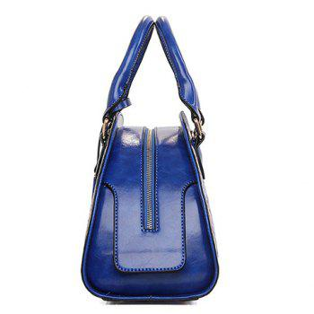 Retro Style Zip and Embossing Design Tote Bag For Women - BLUE