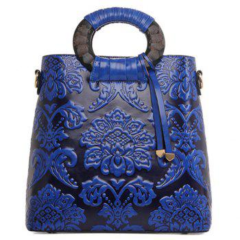 Vintage Style Embossing and PU Leather Design Tote Bag For Women
