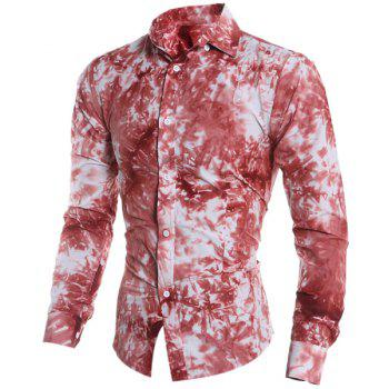 Tie-Dye 3D Abstract Print Color Block Shirt Collar Long Sleeves Slim Fit Men's Button-Down Shirt - RED M