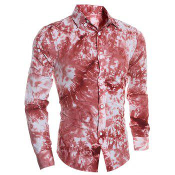 Buy Tie-Dye 3D Abstract Print Color Block Shirt Collar Long Sleeves Slim Fit Men's Button-Down RED
