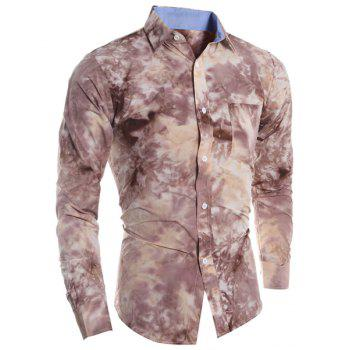 One Pocket 3D Tie-Dye Abstract Floral Print Slimming Shirt Collar Long Sleeves Men's Shirt