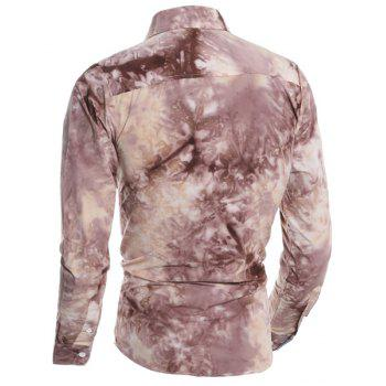 One Pocket 3D Tie-Dye Abstract Floral Print Slimming Shirt Collar Long Sleeves Men's Shirt - COFFEE XL