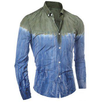 3D Tie-Dye Abstract Pattern One Pocket Slim Fit Shirt Collar Long Sleeves Men's Ombre Button-Down Shirt