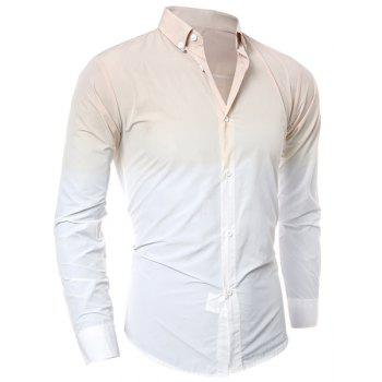 Hot Sale Tie-Dye Ombre Design Slimming Shirt Collar Long Sleeves Men's Button-Down Shirt
