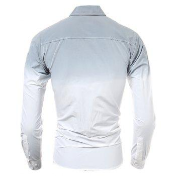 Hot Sale Tie-Dye Ombre Design Slimming Shirt Collar Long Sleeves Men's Button-Down Shirt - GRAY M