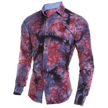 Abstract Floral Pattern 3D Tie-Dye Design Slimming Shirt Collar Long Sleeves Men's Shirt - RED M
