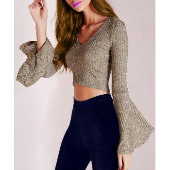 Stylish solid color v neck long bell bottom sleeve cropped for Bell bottom sleeve shirt