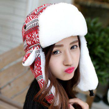Chic Christmas Snowflake and Rhombus Pattern Thicken Trapper Hat For Women