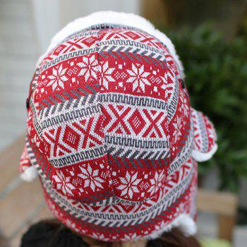 Chic Christmas Snowflake and Rhombus Pattern Thicken Trapper Hat For Women - RED