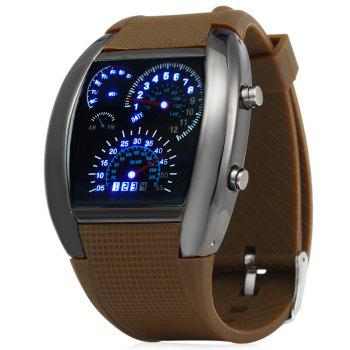 Rubber Band LED Car Watch / Table with Blue Light Display Time Arch Shaped - COFFEE COFFEE