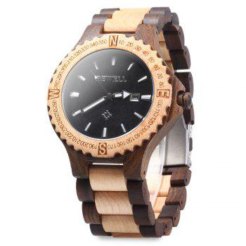 BEWELL ZS - W023A Men Wooden Bangle Quartz Watch with Calendar Display
