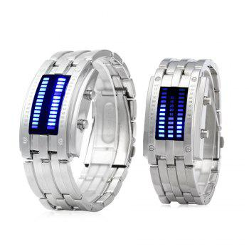 Date Binary Digital LED Bracelet Couple Watch Rectangle Dial