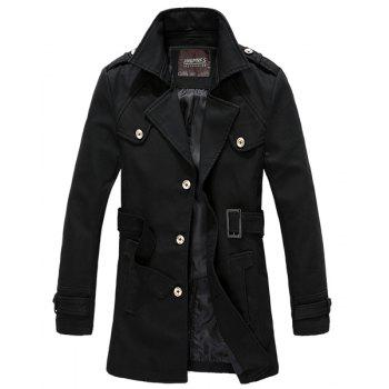 Turn-Down Collar Belt and Epaulet Design Solid Color Slimming Long Sleeve Men's Coat