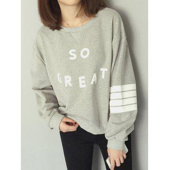 Preppy Style Round Neck Long Sleeve Loose Letter Print Women's Sweatshirt