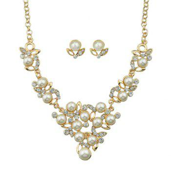 Rhinestoned Fake Pearl Necklace and Earrings - GOLDEN GOLDEN