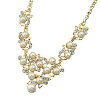 Rhinestoned Fake Pearl Necklace and Earrings - GOLDEN