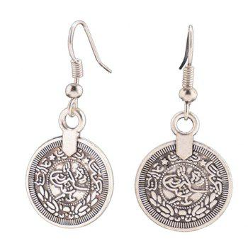 Round Coin Shape Hook Earrings