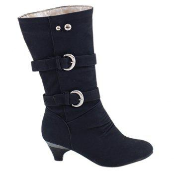 Stylish Solid Color and Metal Rivets Design Mid-Calf Boots For Women