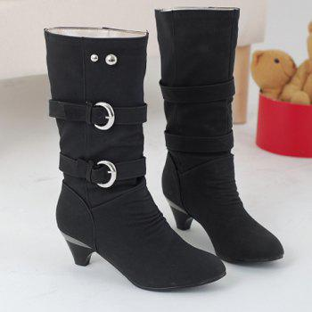 Stylish Solid Color and Metal Rivets Design Mid-Calf Boots For Women - BLACK 39