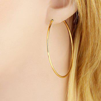 Pair of Polished Round Earrings - GOLDEN