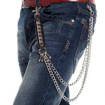 Stylish Quadrate Stud Embellished Two Layered Men's Trouser Chain