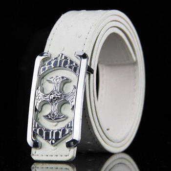 Stylish Retro Cross Shape Embellished Men's PU Wide Belt - WHITE WHITE