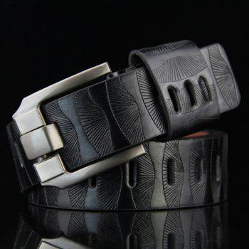 Stylish Pin Buckle Stripy Men's PU Wide Belt