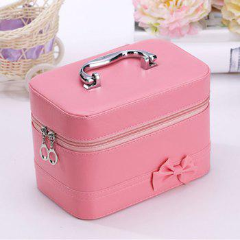 Sweet Solid Color and Bowknot Design Women's Cosmetic Bag - PINK PINK