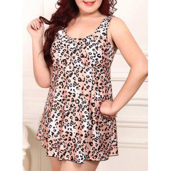 Scoop Collar Plus Size Cheetah Print Two-Piece Women's Swimsuit