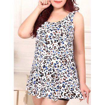 Sexy Scoop Neck Plus Size Cheetah Print Two-Piece Women's Swimsuit