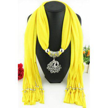 Chic Rhinestone Inlay Hollow Out Peacock Pendant Embellished Tassel Women's Scarf