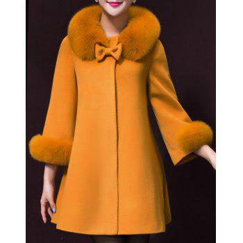 Chic 3/4 Sleeve Turn-Down Neck Bowknot Design Women's Coat