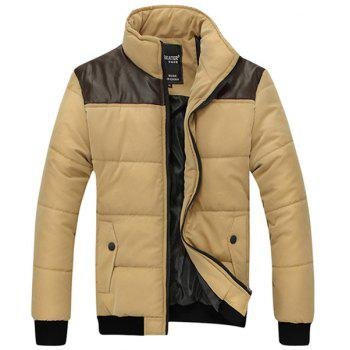 Slimming PU-Leather Splicing Stand Collar Long Sleeve Men's Cotton-Padded Jacket