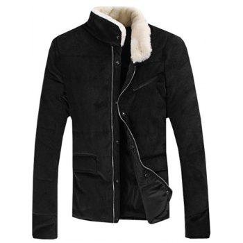 Fur Collar PU Leather Spliced Flap Pocket Long Sleeves Fitted Men's Thicken Corduroy Padded Coat